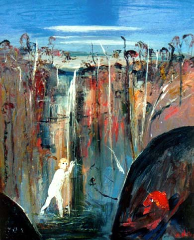 SOLD - Arthur Boyd, Shoalhaven Waterfall Bather and The Elder, Oil on canvas