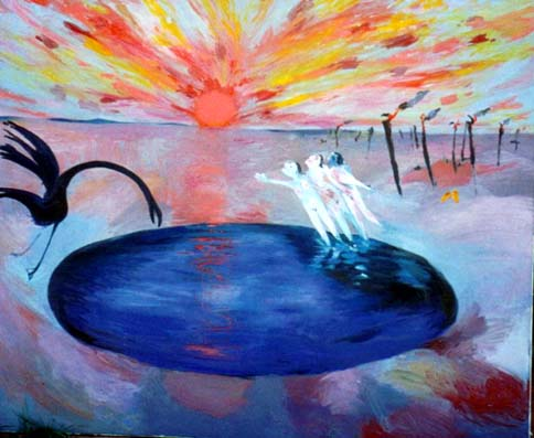 SOLD - Arthur Boyd, Three Ladies Magic Flute, Oil on canvas, 200 x 250 cm