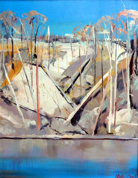 Click to Enlarge: Arthur Boyd, Shoalhaven Riverbank c.1970, Oil on Copper, 62 cm x  45 cm