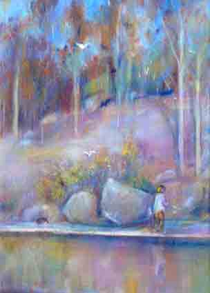 Click to Enlarge: Jamie Boyd, 39-12 Riverbank with Figure, Bird and Dog, Pastel