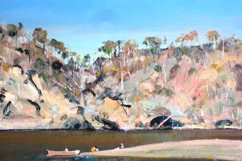 Jamie Boyd, 19-10 Figures, boat river bank, 43 x 61 cm, Oil on copper