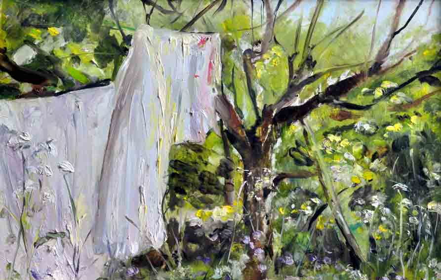 Click to Enlarge: Nathaniel Boyd, cat.no.4-Laundry in the Apple Orchard, Oil on Copper