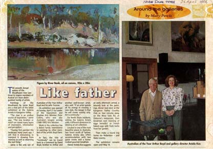 Click VIDEO: Photo: North Shore Times, 26 April 1996, Jamie Boyd Exhibition, picture Arthur Boyd and Aniela in Galeria Aniela