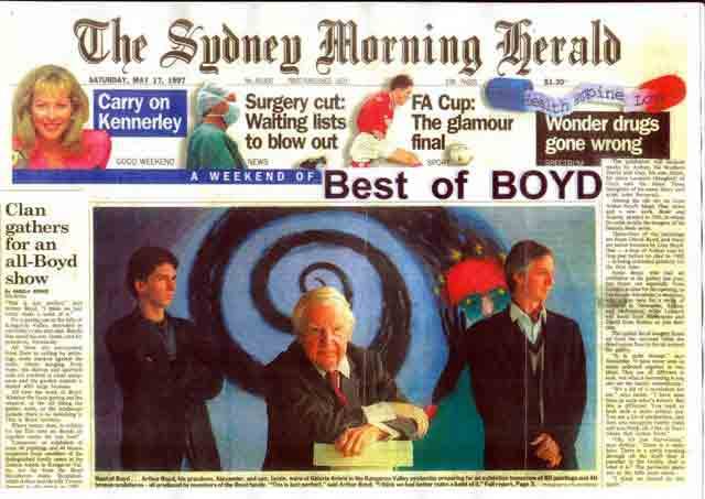 Photo: Front page of Sydney Morning Herald 'Best of Boyd' Exhibition at Galeria Aniela, 17 May 1997