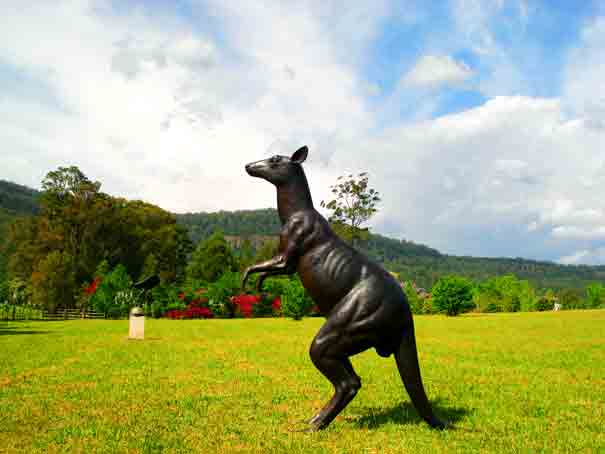 Kangaroo, bornze sculpture - Ideally located, Galeria Aniela fine art gallery and Sculpture Park is set at the backdrop of Kangaroo Valley breathtaking escarpment, enjoying awesome views and many say that the property is a work of art in itself.