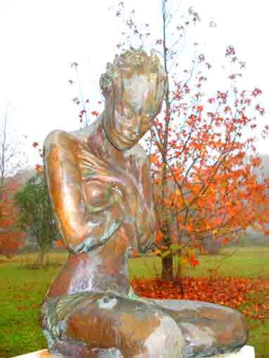 Bronze sculpture by Lenore Boyd - Beautiful fog embraces and refresh garden during Authum and winter