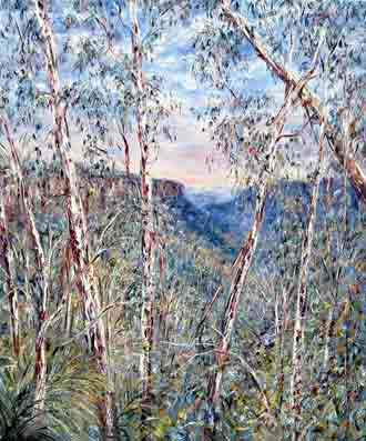Tessa Perceval, Valley View Fitzroy Falls, Oil on Linen, 91 cm by 76 cm - SOLD